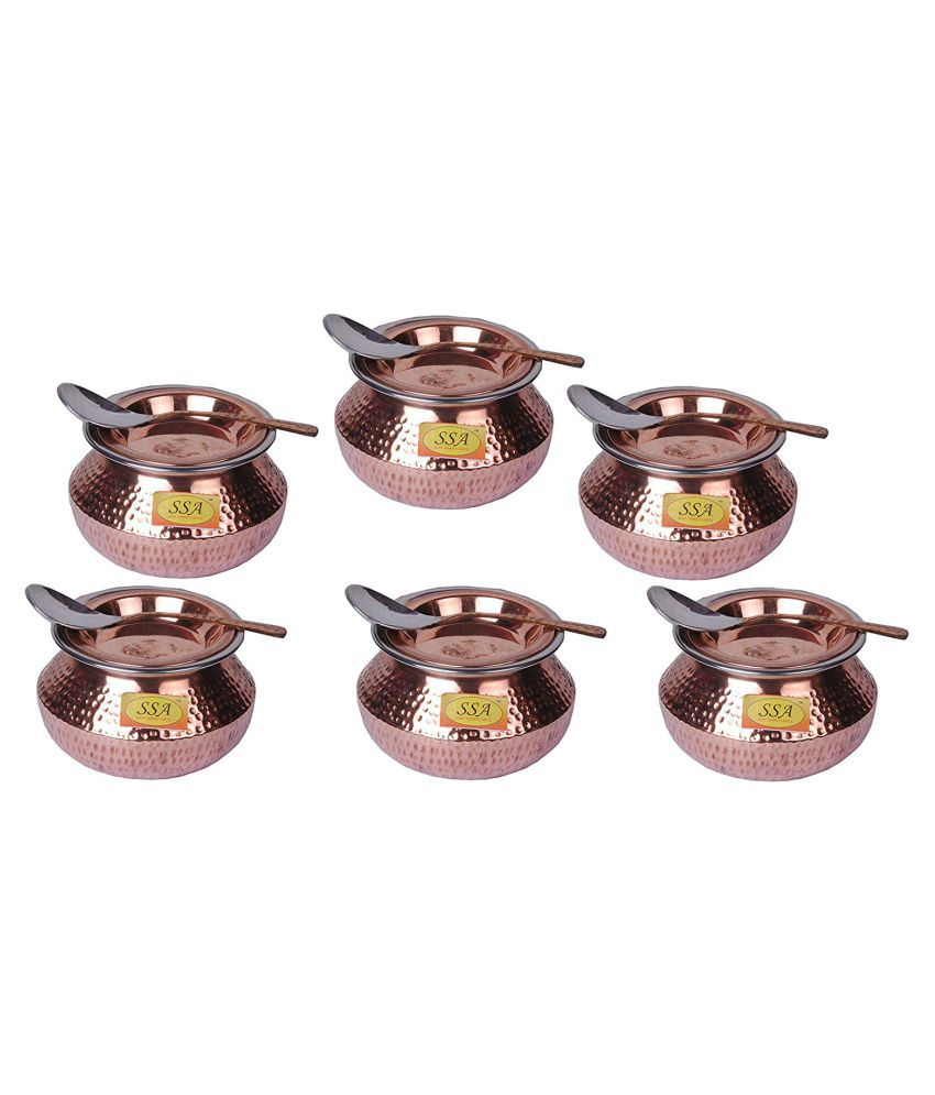 Shiv Shakti Arts Steel Copper Handi 6 Piece Cookware Set