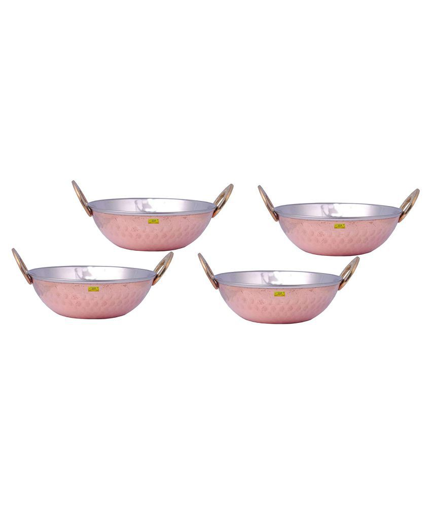 Shiv Shakti Arts Steel Copper Kadhai 4 Piece Cookware Set
