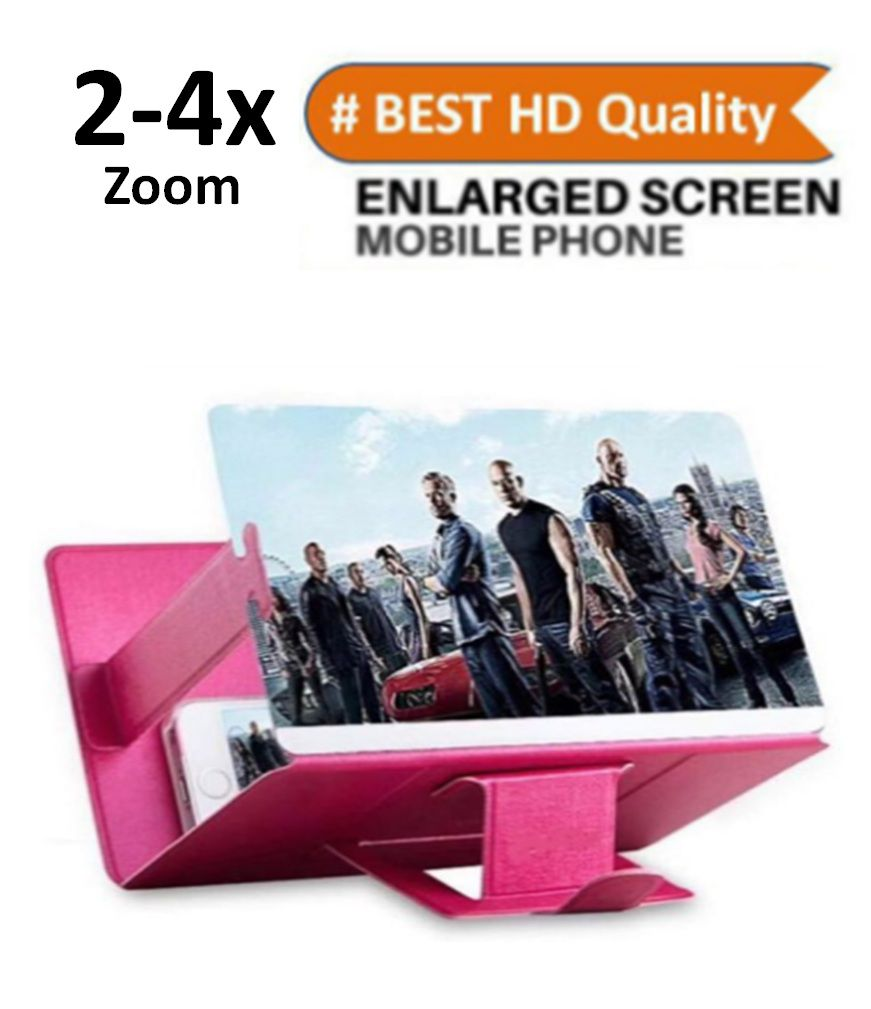 KolorFish Screen Magnifier 3D Smart Mobile Phone Movies Amplifier with PU Leather Foldable Holder Stand for All Smartphone