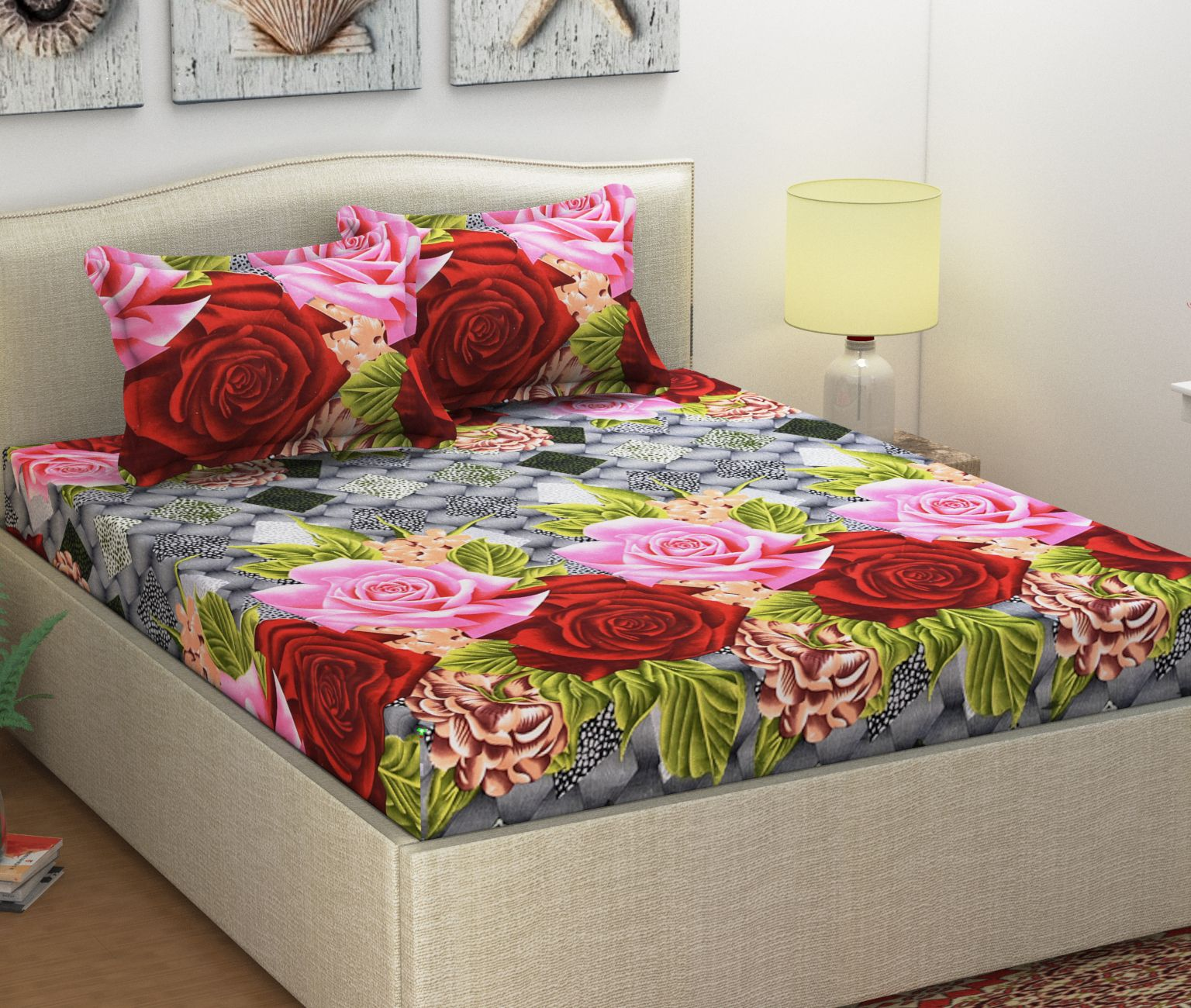 Ninenest Microfibre Double Bedsheet with 2 Pillow Covers