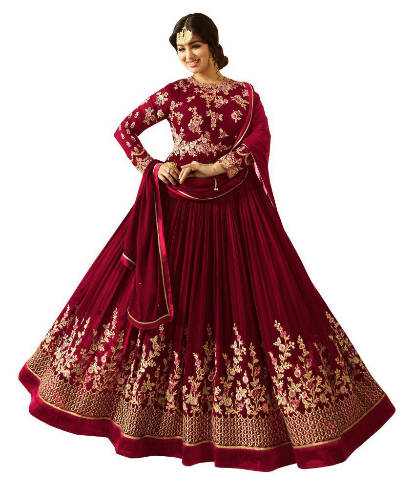SHAFNUFAB Red Georgette Gown