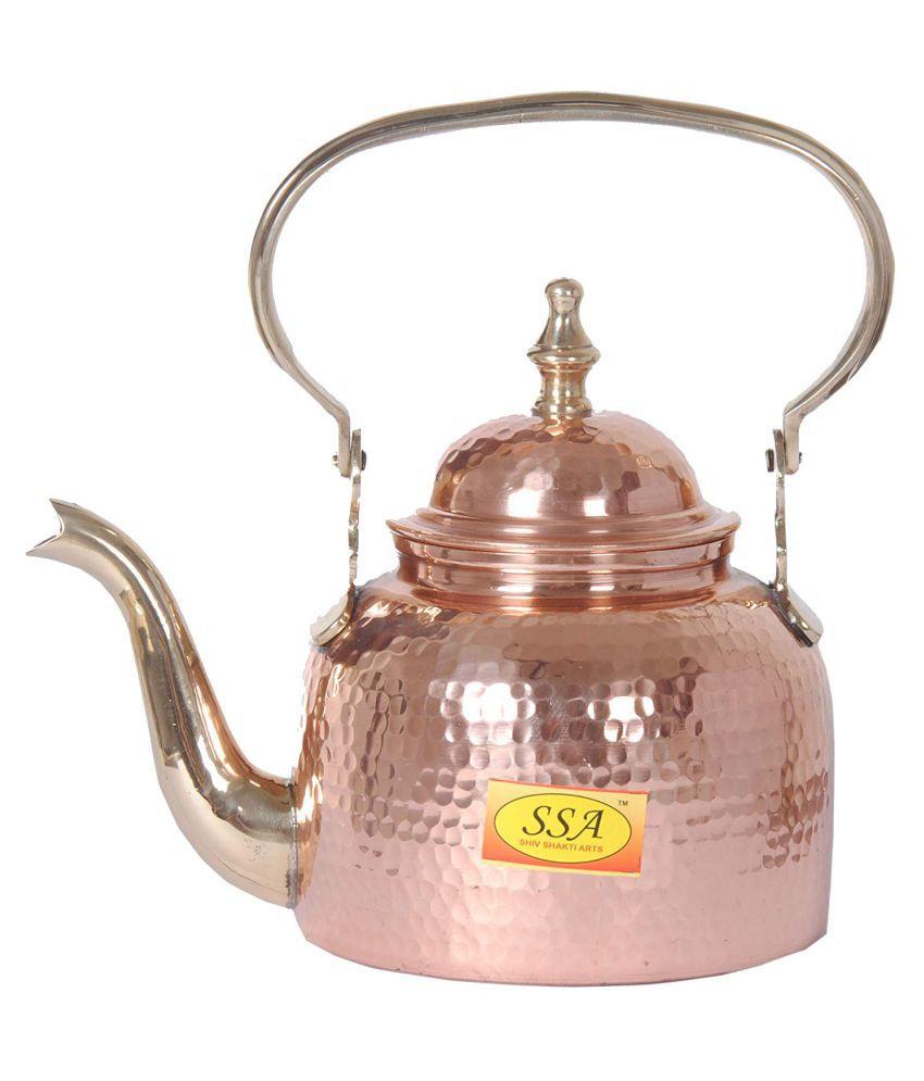 Shiv Shakti Arts Tea Container Pot Copper Tea/Coffee/Sugar Container Set of 1 1300 mL