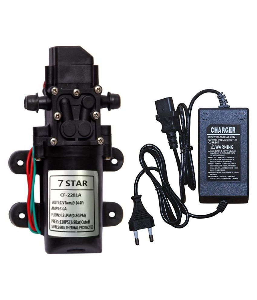 7 STAR 12 Volt DC 4 5 LPM Water Pump 110 PSI/6 9 BAR with 12 Volt DC  Adapter Power Supply Adaptor Charger COMBO High Pressure Electric Booster  Pump