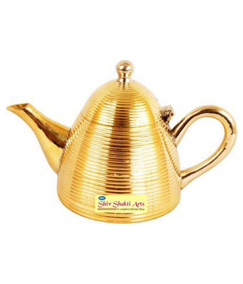 Shiv Shakti Arts Tea Container Pot Brass Tea/Coffee/Sugar Container Set of 1 500 mL