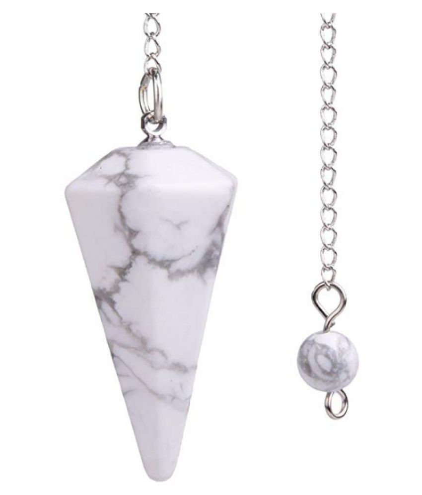 2 to 3 Inches White Howlite Natural Agate Stone Pendulum