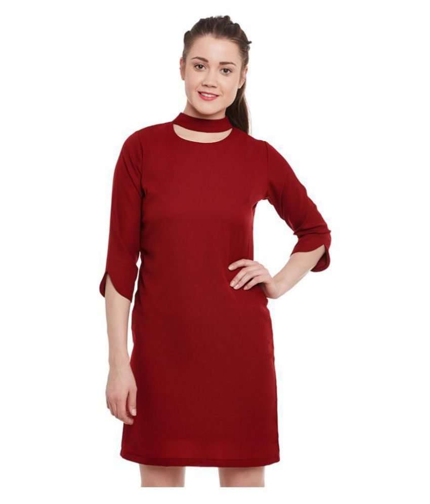 Miss Chase Polyester Maroon Shift Dress