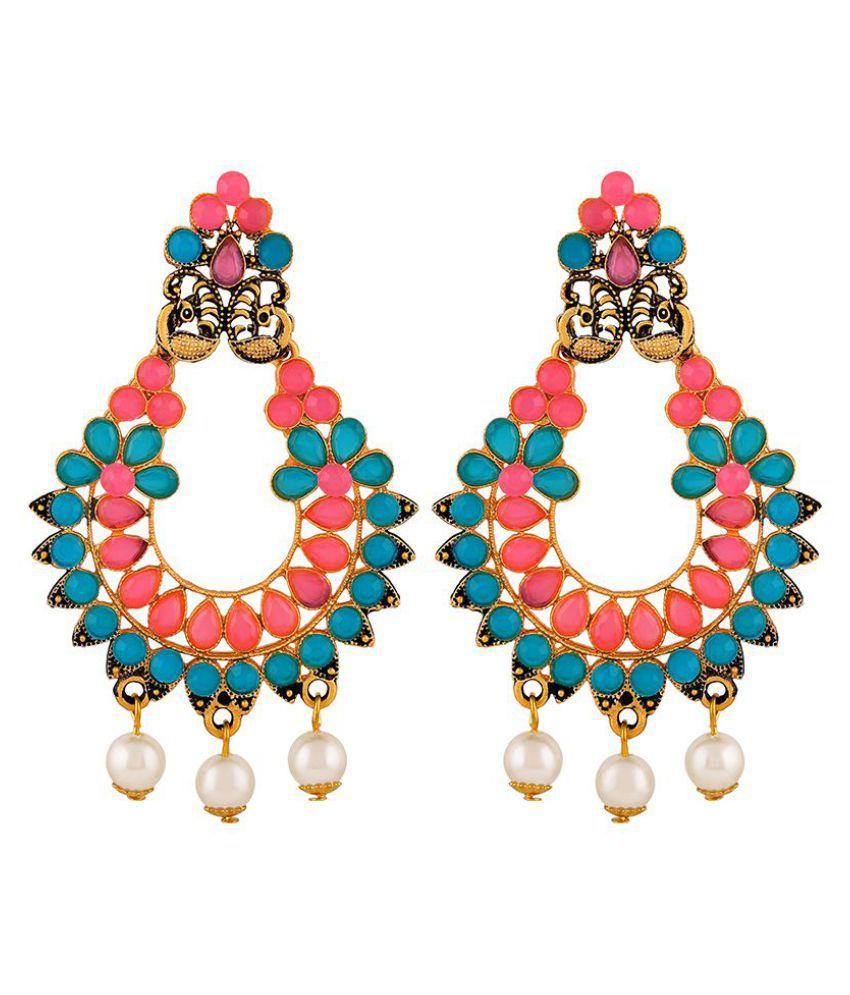Asmitta Gleaming Peacock Chandbali Gold Plated Dangle Earring For Women