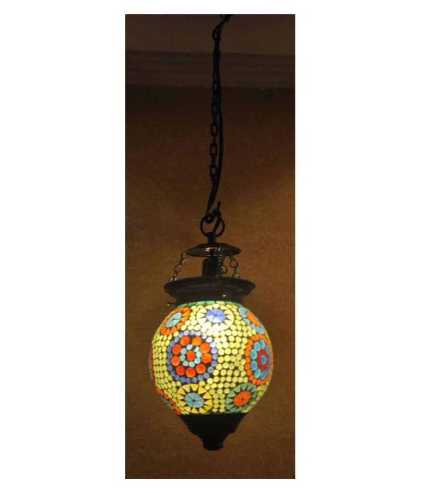 Lal Haveli Glass Home Decorative Hanging Lamp Night Light  Pendant Green - Pack of 1