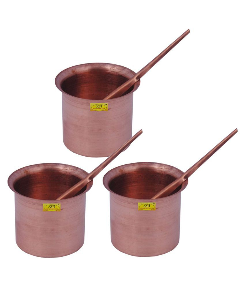 Handmade Pure Copper Panch Paatra Worship Glass - Home Temple Pooja Height 5 Cm each::Set of 3