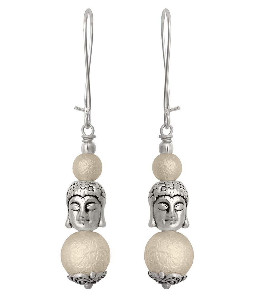 JFL - German Silver Plated Oxidised Buddha and Semi Precious Pearl Designer Earring for Women & Girls