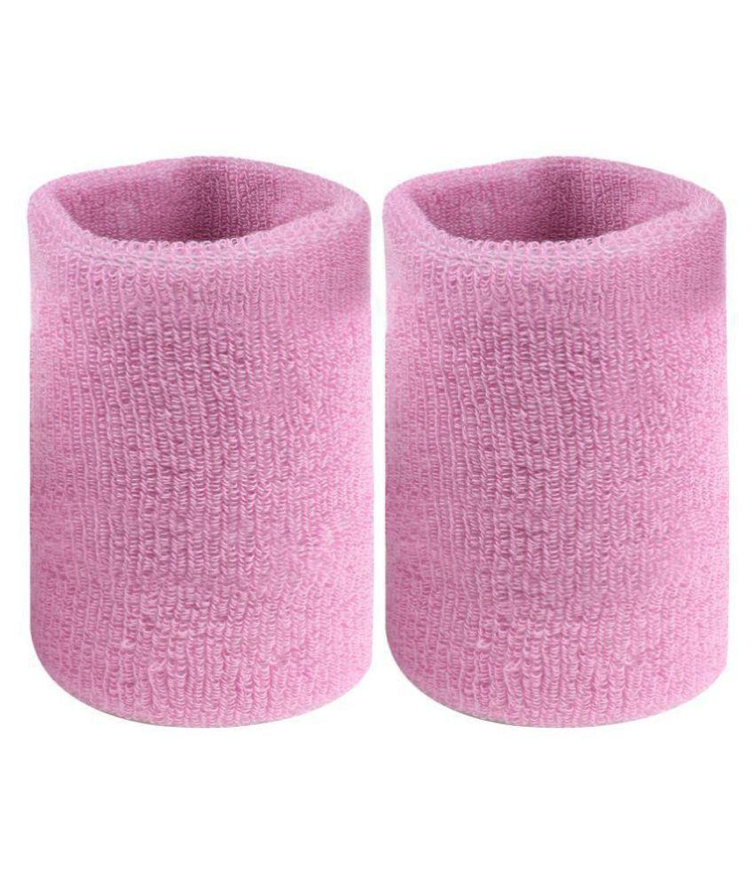 Neska Moda Unisex Pink Cotton Wrist Band-WB11