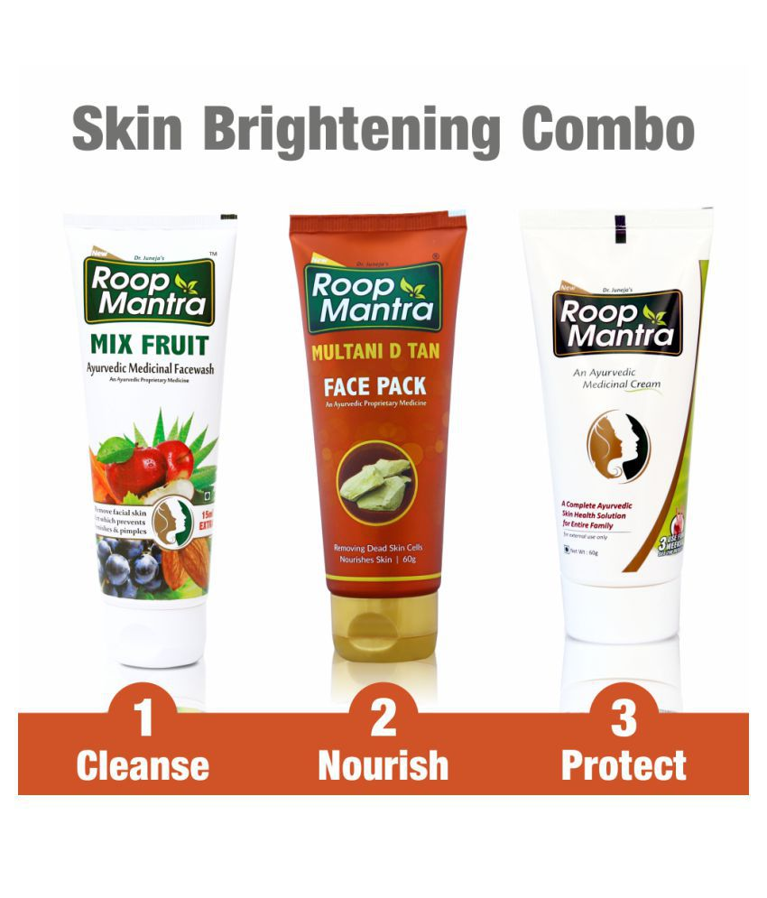 Roop Mantra Face Care Kit for Skin Brightening, Tightening & Whitening (Mix Fruit Facewash 115ml + Multani Mitti Face Pack 60gm + Face Cream 60gm)