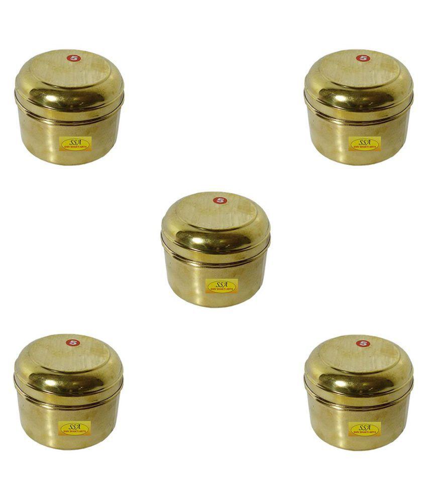 Shiv Shakti Arts box for storage Copper Food Container Set of 5 400 mL