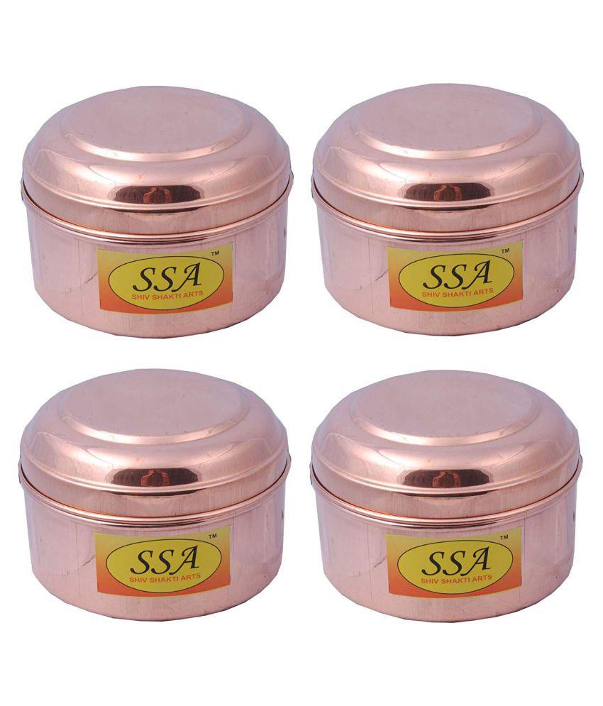 Shiv Shakti Arts box for storage Copper Food Container Set of 4 400 mL