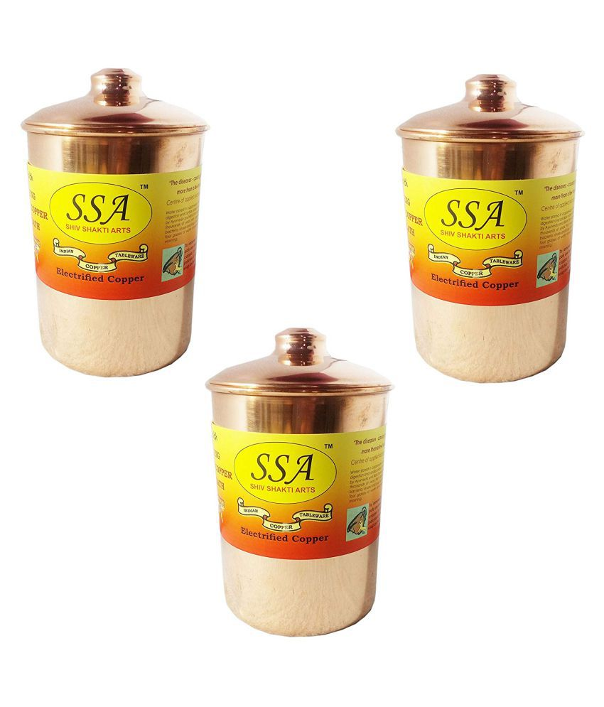 Shiv Shakti Arts box for storage Copper Food Container Set of 4 1800 mL
