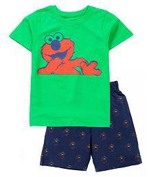 Boy's Monster Print Top & AOP Shorts Set