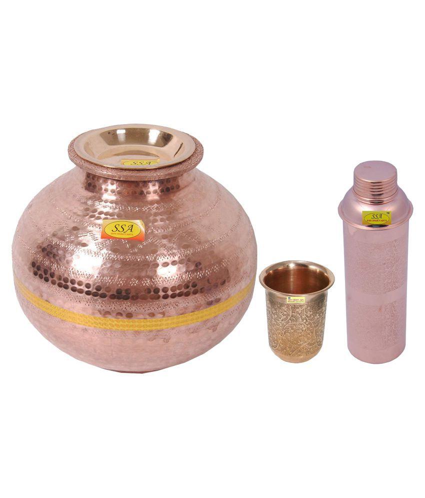 Shiv Shakti Arts Copper Matka 7 Litre 3 Pcs Lemon set