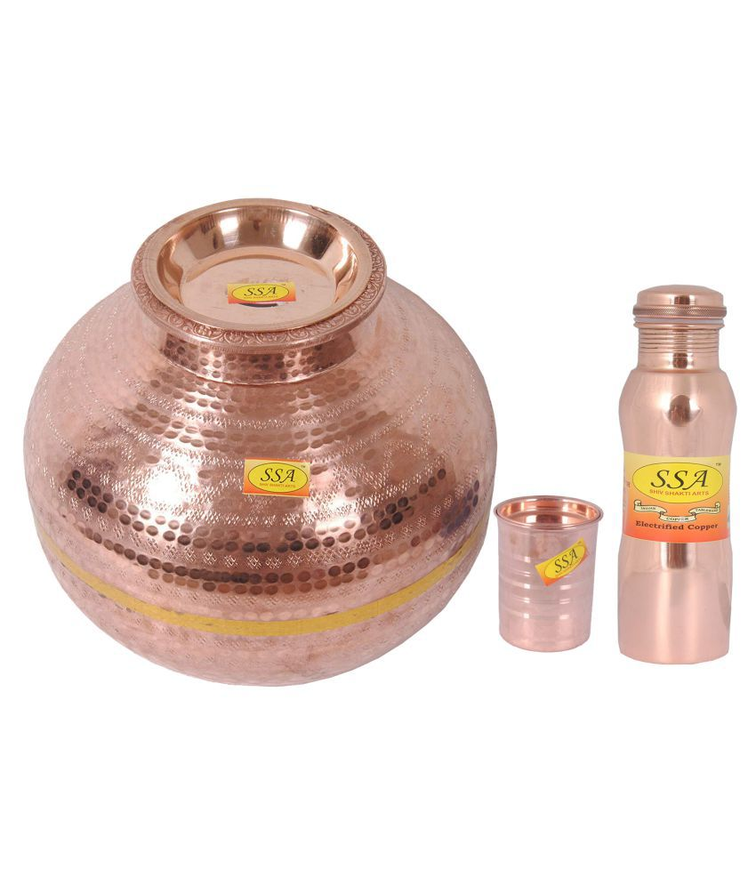 Shiv Shakti Arts Copper Matka 20Litre 3 Pcs Lemon set