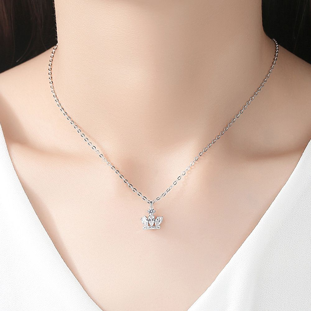 1Pc White Princess Crown Necklace Fashion Jewellery