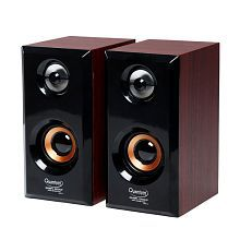 Quantum QHM636 2.0 wooden Speakers - Brown For Laptop, computer, Mobiles,MP3/MP4 Players