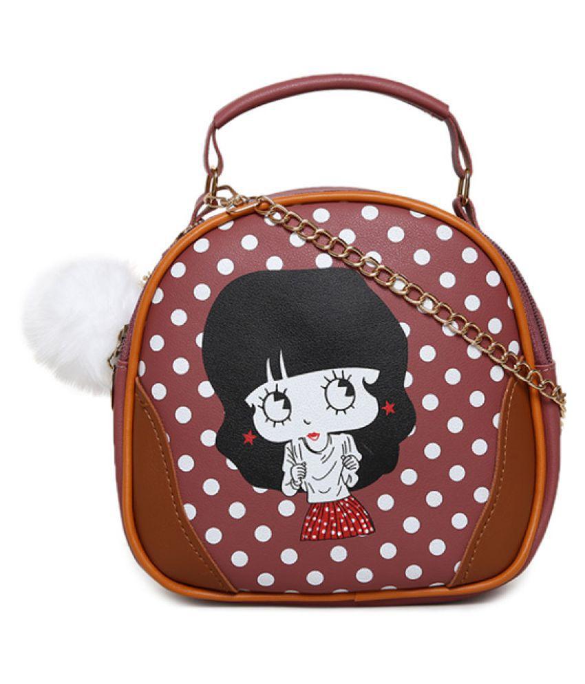 Aliado Maroon Synthetic Casual Messenger Bag
