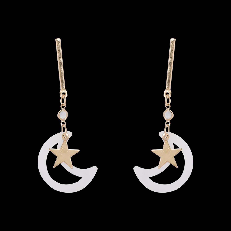 Silver Shine Graceful Golden Half Moon Star Earrings for Women.