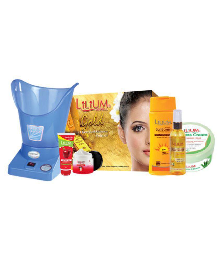 Lilium  Hair & Face Care Product,Steamer & 24Karat Gold Facial Kit 440 mL Pack of 7