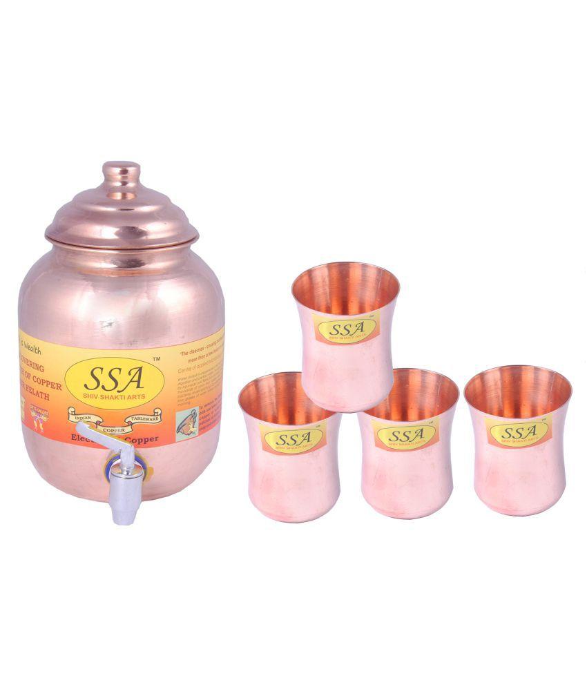 Shiv Shakti Arts 1 Pot & 4Glass Combo 4 Pcs Lemon set