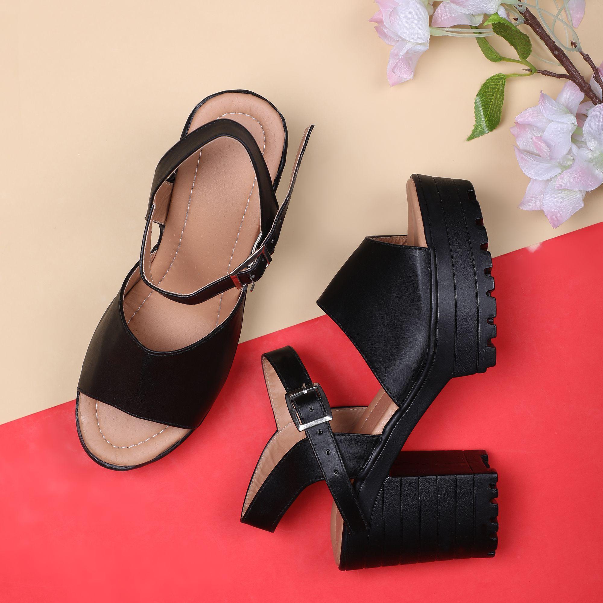 Sindhi Footwear Black Block Heels