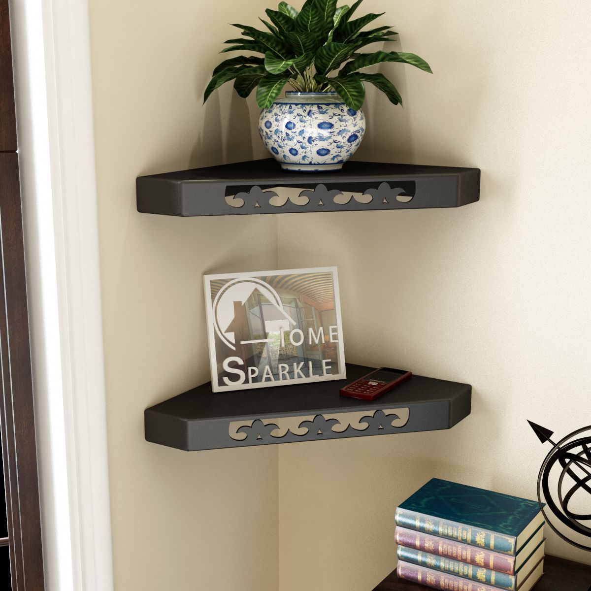 Home Sparkle MDF Decorative Corner Wall Shelves, Suitable For Living Room/Bed Room-Set of 2 (Designed By Craftsman)