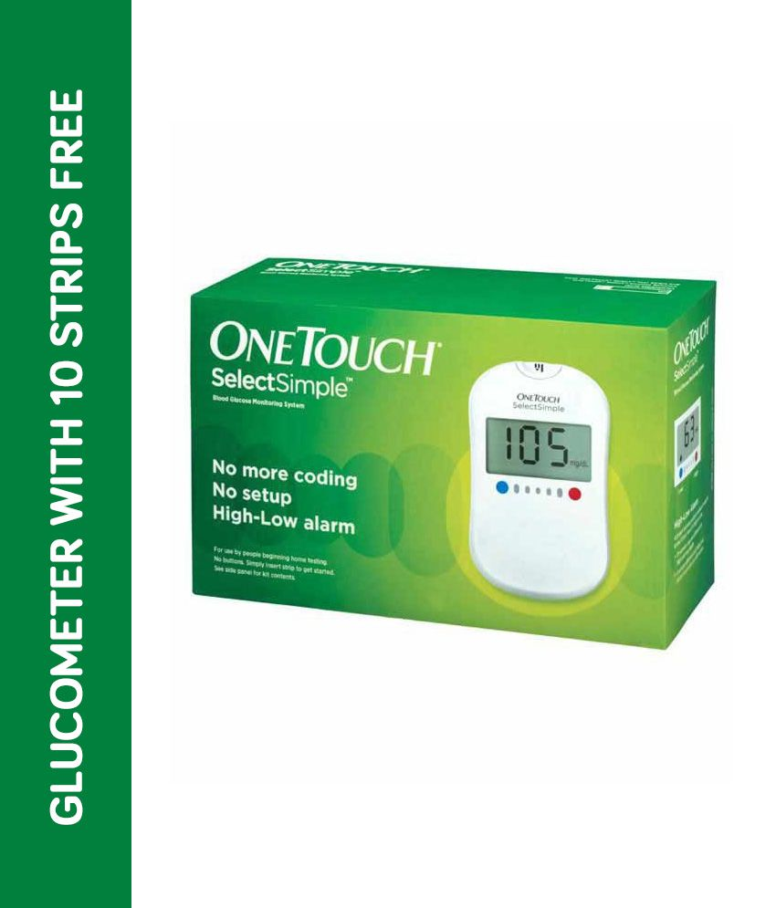 J&J One Touch Select Simple Glucose Monitor With Free 10 Strips