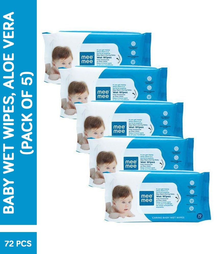 Mee Mee Caring Baby Wet Wipes, Aloe Vera (72 Pieces) (Pack of 5)