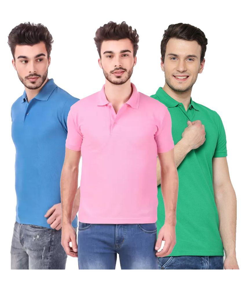Freely Polyester Cotton Green Solids T-Shirt