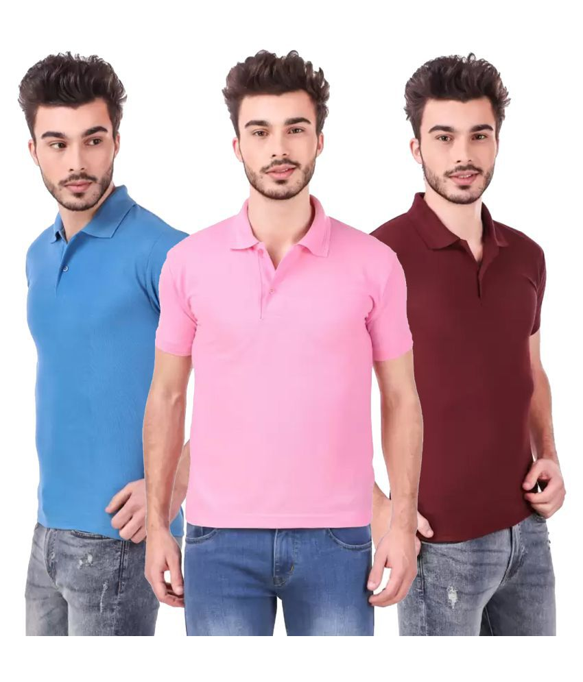 Freely Polyester Cotton Maroon Solids T-Shirt