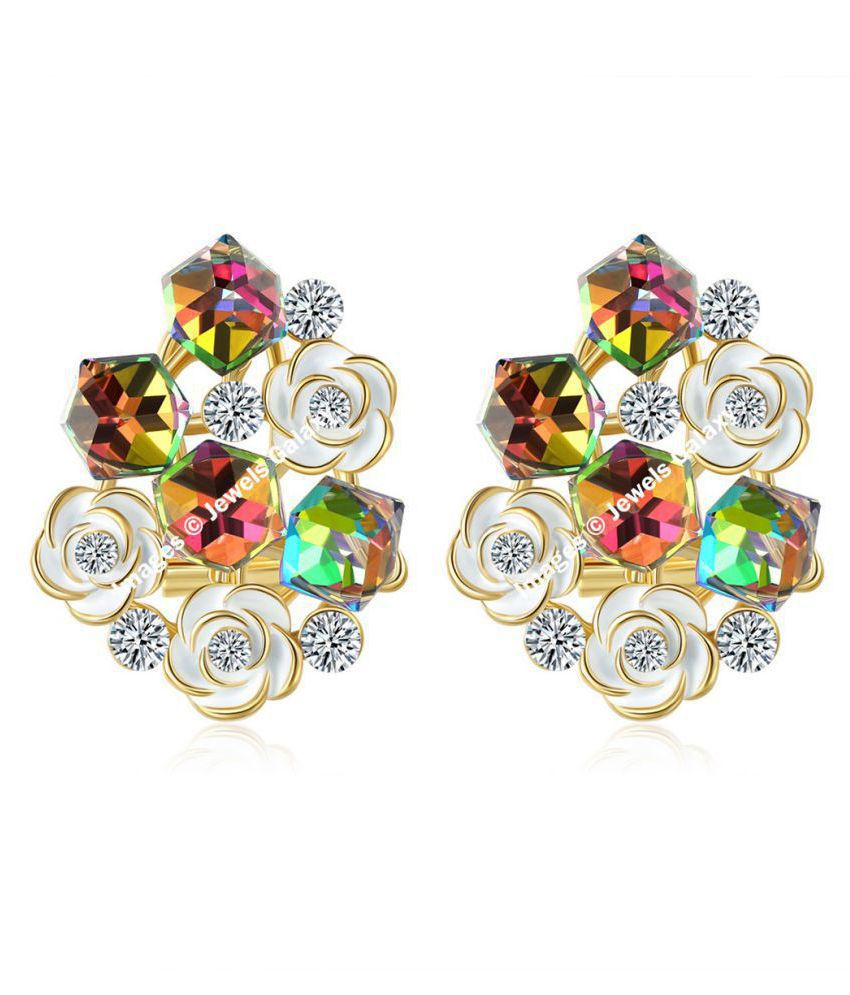 Jewels Galaxy Intriguing Matrix Crystal Elements Limited Edition Pleasing Floral Earrings For Women/Girls