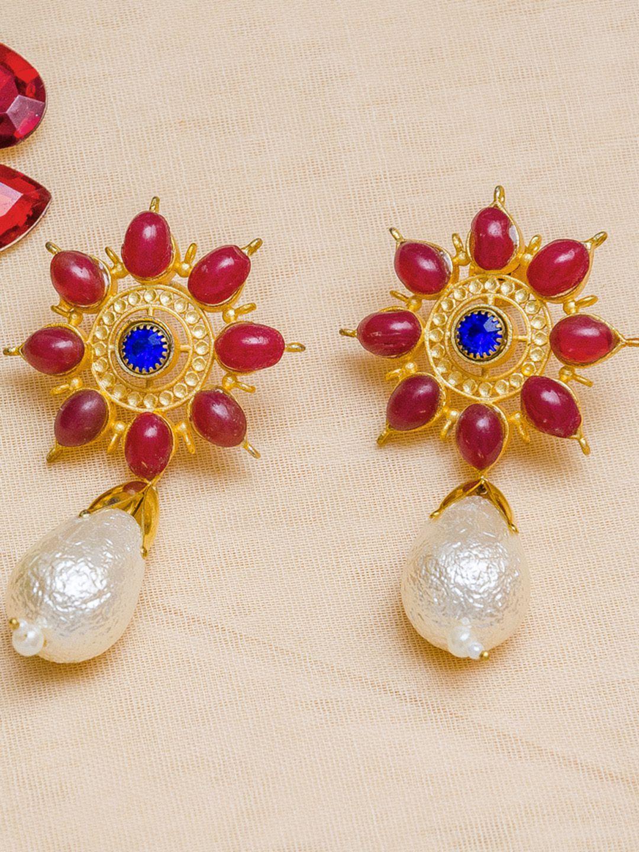 Priyaasi Gold Plated Flower Pearl Drop Earrings