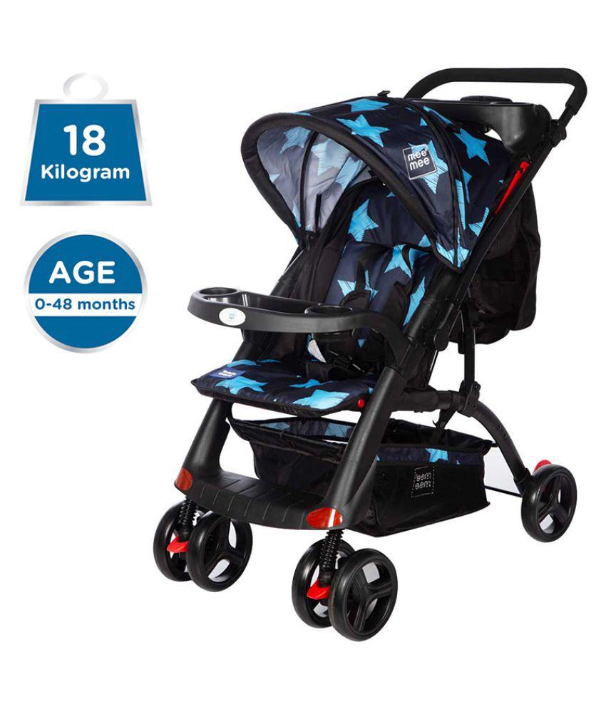 Mee Mee Advanced Baby Pram with Shock Absorber Wheels (Blue)
