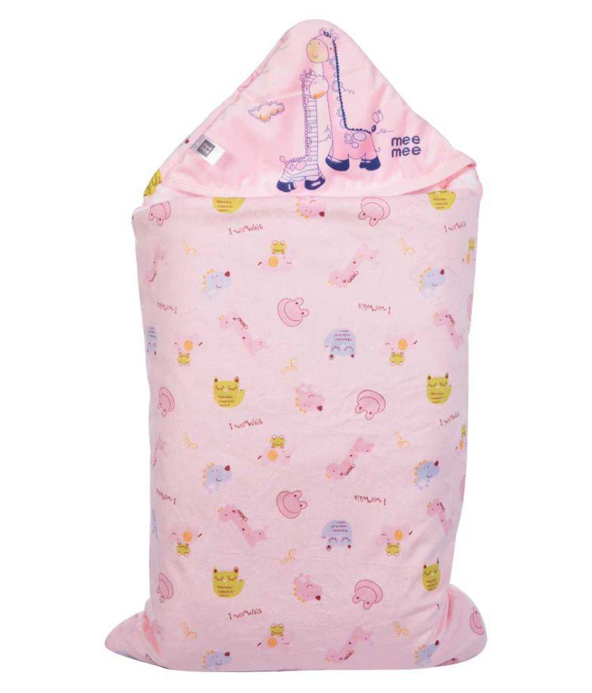 Mee Mee Pink Cotton Baby Wrap cum blanket ( 38 cm × 5 cm - 1 pcs)