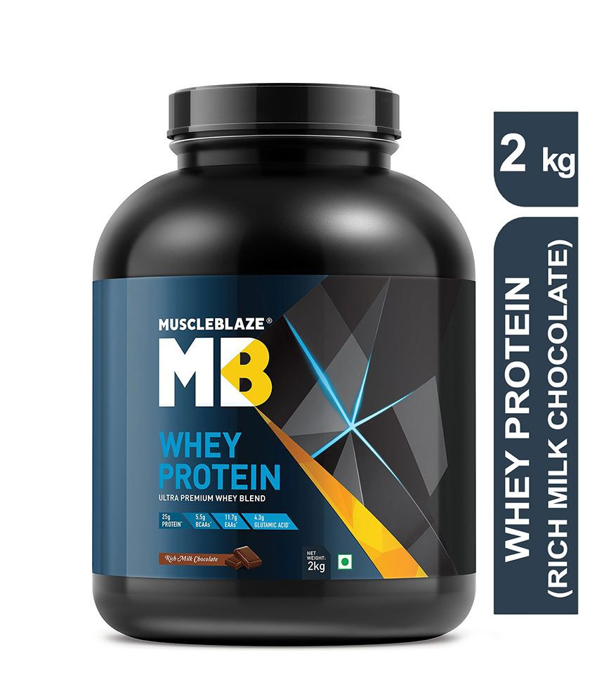 MuscleBlaze 100% Whey Protein Supplement Powder with Digestive Enzyme, 4.4 lb/ 2 kg, 60 Servings (Rich Milk Chocolate)