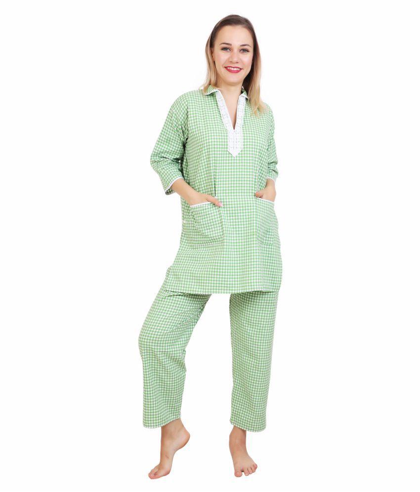 Narvey Cotton Nightsuit Sets - Green