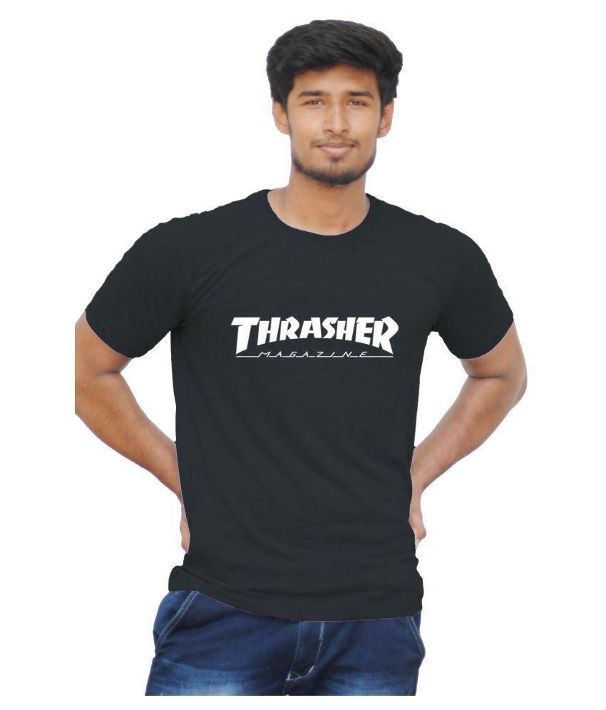 llavea 100 Percent Cotton Black Printed T-Shirt