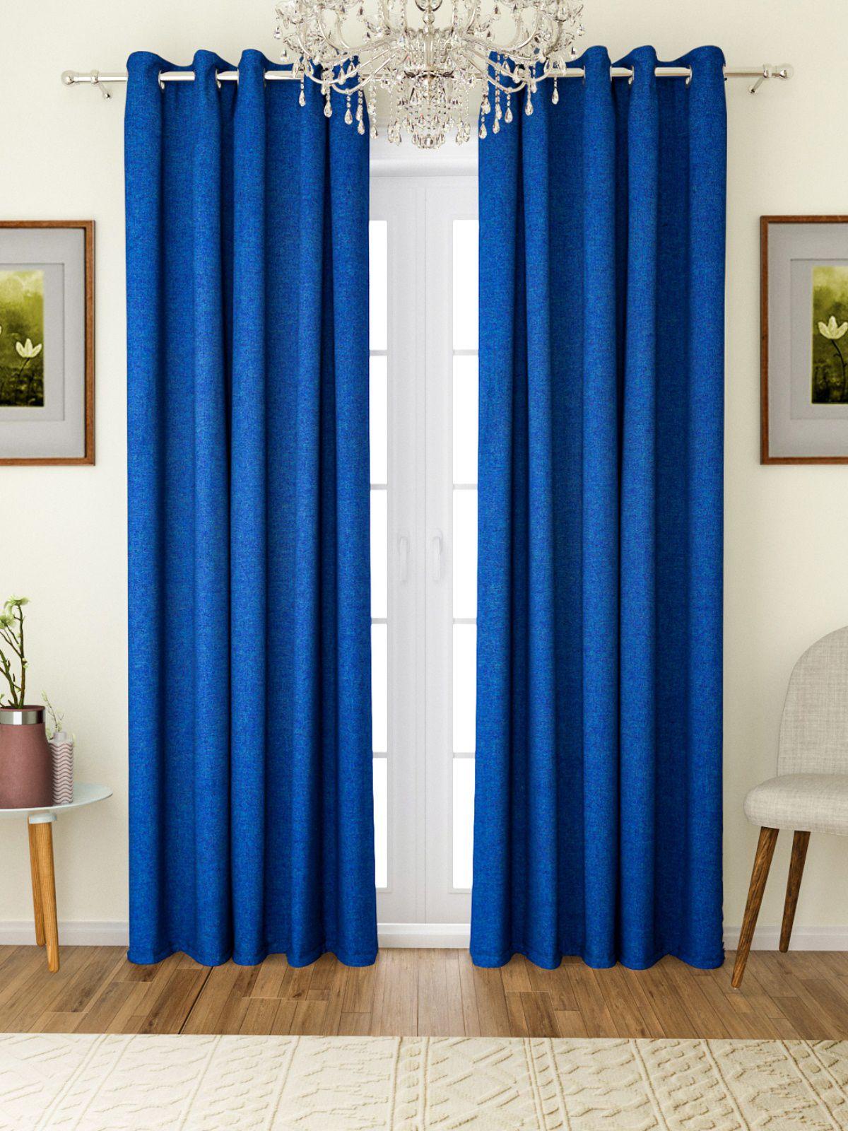Romee Set of 2 Door Eyelet Polyester Curtains Blue