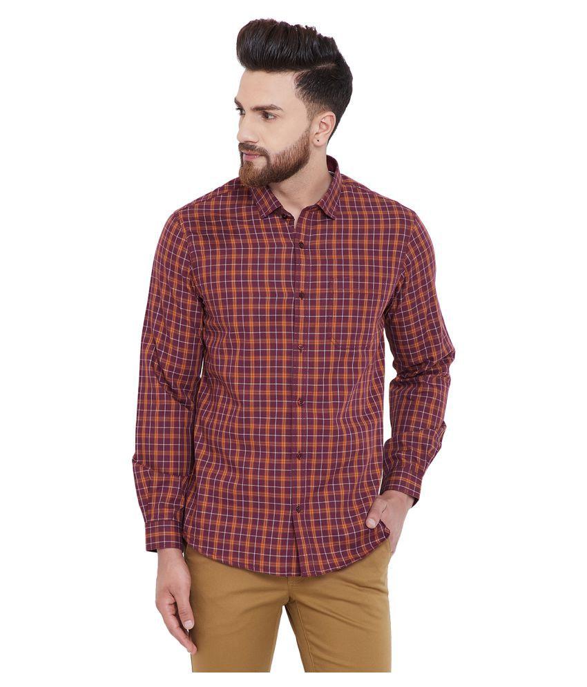 Canary London 100 Percent Cotton Maroon Checks Shirt