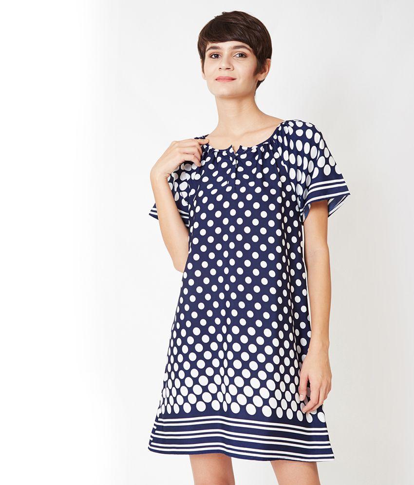 Oxolloxo Polyester Night Dress - Navy