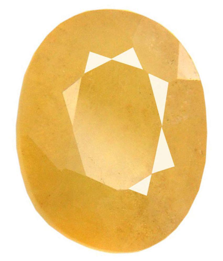 Tejvij And Sons 4.25 -Ratti Self certified Yellow Sapphire Semi-precious Gemstone