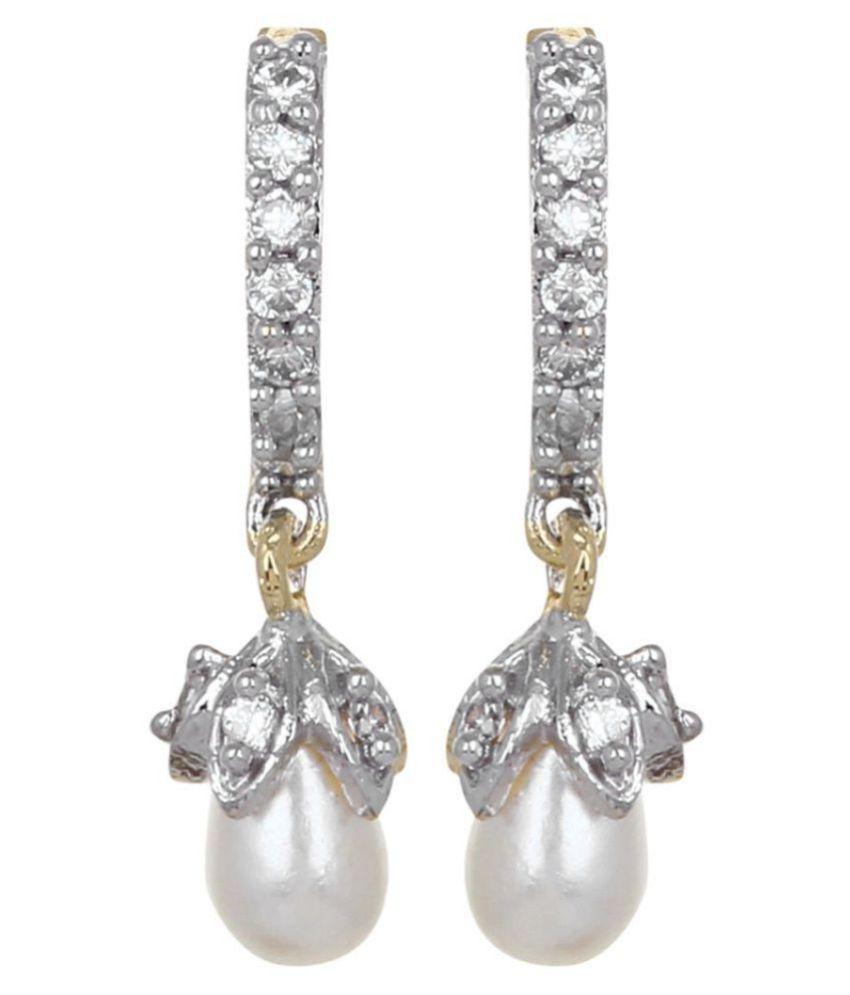 American Diamond Hoop Bali Pearl Latkan Elegant Earrings by GoldNera