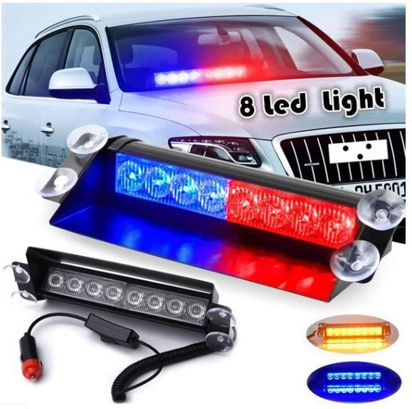 Auto Ryde 8 LED Red Blue Police Flasher Light
