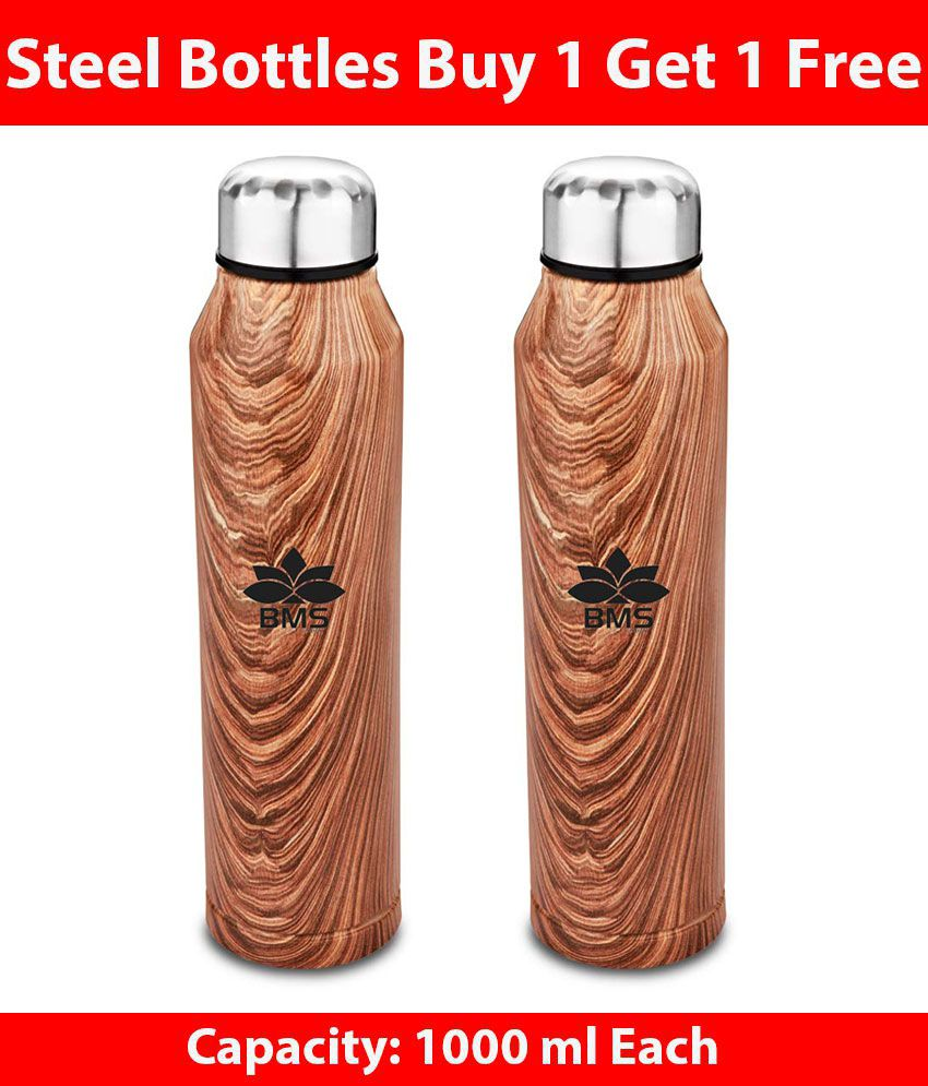 Bms Lifestyle Stainless Steel Wide Mouth Non-Insulated Leak-Proof Single Walled Fridge Water Bottle 1000 ML (Pack of 2)