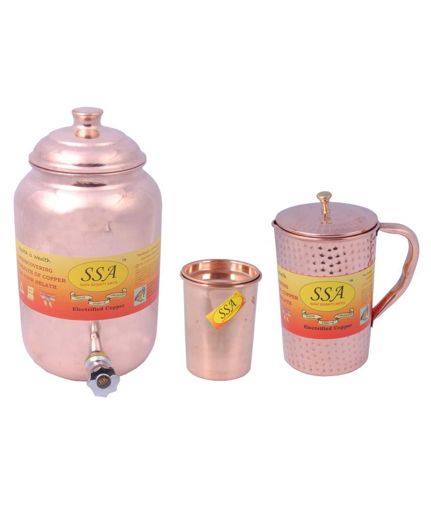 Shiv Shakti Arts Pot, Glass & Jug Set 3 Pcs Jug and Glass Combo