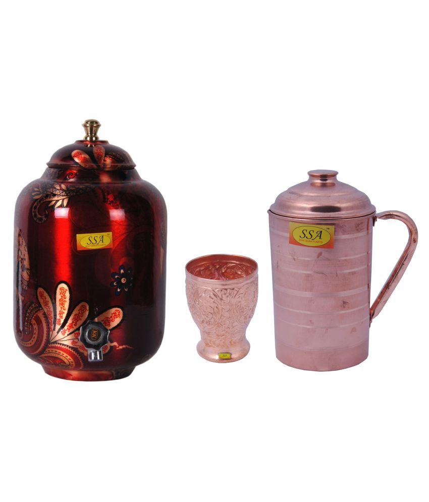 Shiv Shakti Arts Pot, Glass & Jug Set 3 Pcs Jug and Glass Combo